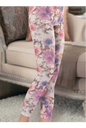 Derya Kurşun 455 Çiçek Desenli Bayan Tayt