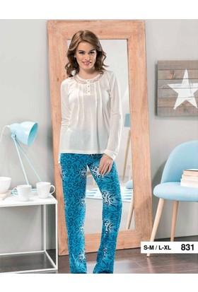 Derya Kurşun 831 Desenli Bayan Pijama Takım