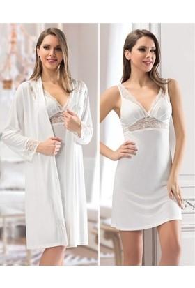 Nbb 3200 Viskon Gecelik Sabahlık Pijama 6 Lı Çeyiz Seti