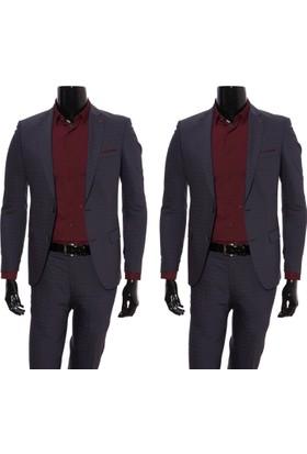 Giyimgiyim Altınyıldız Siyah - Bordo Kareli Dar Kesim Erkek Takım Elbise