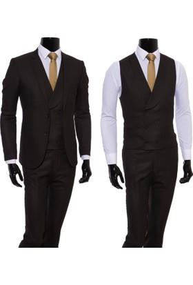 Giyimgiyim Koyu Kahve Kendinden Desenli Yelekli Erkek Takım Elbise
