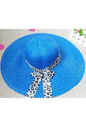 Leydika Bayan Gece Mavisi Hasır Yazlık Plaj Şapkası