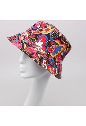 Leydika Bayan Yazlık Moda Plaj Şapka Koyu Çiçek Desenli