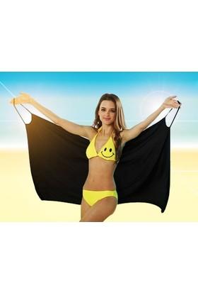 Pratik Pareo Plaj Elbisesi (Siyah)