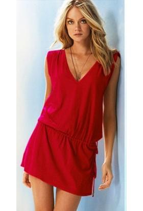 Pratik Yeni Trend Şık Yazlık Elbise (Kırmızı Beden:4)