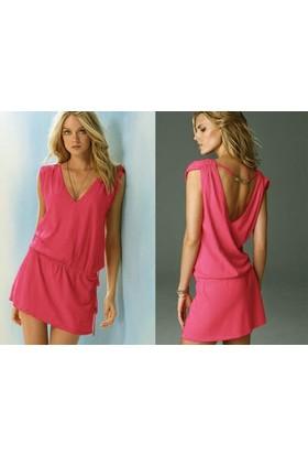 Pratik Yeni Trend Şık Yazlık Elbise (Pembe Beden:4)