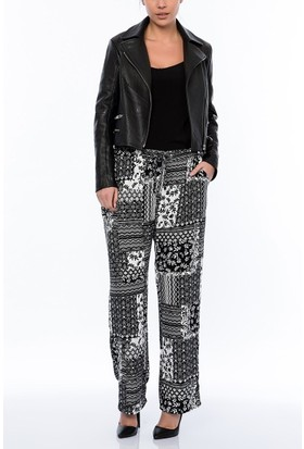 Rmg Kadın Büyük Beden Desenli Pantolon Siyah