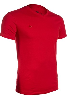 Wgust V Yaka T-Shirt (Bordo)