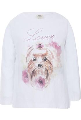 Soobe Pop Girls Süslü Köpek Uzun Kol T-Shirt Beyaz
