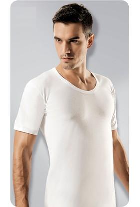 Elif Çamaşır Gümüş 12'li Paket Açık Yaka Erkek Fanila Beyaz