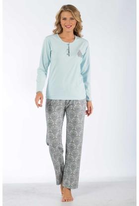 Remsa Mayo Bayan Pijama Takımı %100 Pamuk Uzun Kollu - Remsa 2137 - Mavi