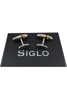 Siglo Accessory Siglo Sarı Kırmızı Çizgili Model Kol Düğmesi