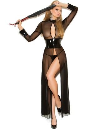 Maxpera Lame Deri Transparan Fantazi Elbise