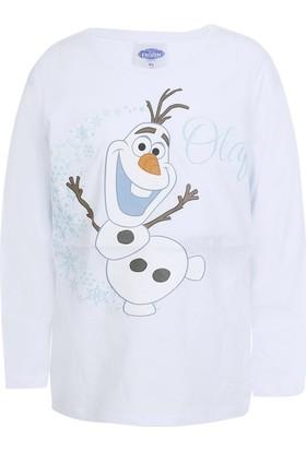 Disney Frozen Uzun Kol Kız Çocuk T-Shirt Beyaz