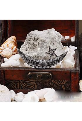 Zevahir Gümüş Elmas Modeli Ay Yıldız 925 Ayar Gümüş Broş