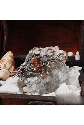Zevahir Gümüş Atatürk Silüeti Ay Yıldız Süslemeli 925 Ayar Gümüş Broş