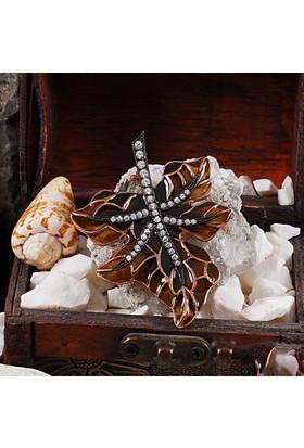 Zevahir Gümüş Mineli Yaprak Modeli 925 Ayar Gümüş Broş