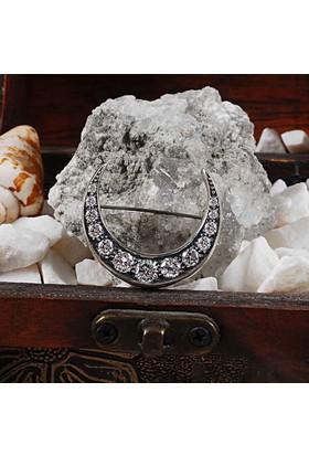 Zevahir Gümüş Elmas Modeli 925 Ayar Gümüş Hilal Broş