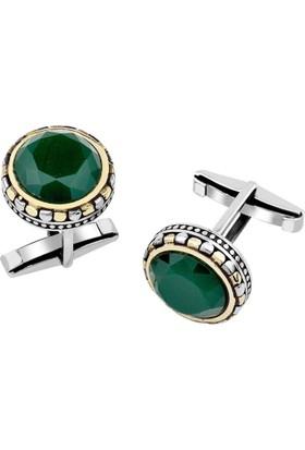 Anı Yüzük 925 Ayar Gümüş Yeşil Zirkon Taşlı Kol Düğmesi