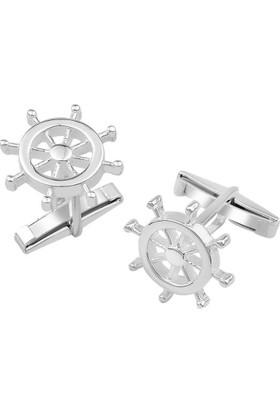 Anı Yüzük 925 Ayar Gümüş Gemi Dümenli Kol Düğmesi