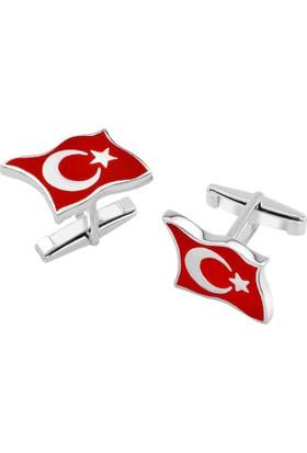 Anı Yüzük 925 Ayar Gümüş Türk Bayrağı Kol Düğmesi
