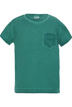 Soobe Pop Boys Cep Erkek Çocuk Detaylı Kısa Kol T-Shirt Yeşil (3-12 Yaş)
