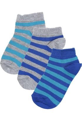 Soobe Çizgili Üçlü Patik Çorap Set Lacivert (23-34 Numara)