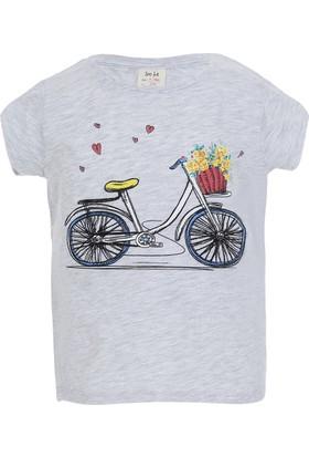 Soobe Pop Girls Bisiklet Kısa Kol T-Shirt Gri Melanj (3-12 Yaş)