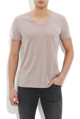Mavi V Yaka Koyu Gri Basic T-Shirt