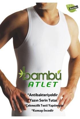 Elif Çamaşır Yıldız 3'lü Paket Bambu Süper İnce Yaz Serinliği Erkek Atlet Beyaz