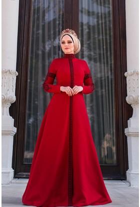 Muslima Wear Mehendi Kırmızı Elbise
