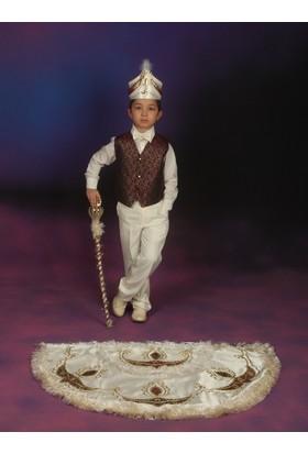 Glory Tekstil Sünnet Kıyafeti Prens Model Krem Rengi-Bordo