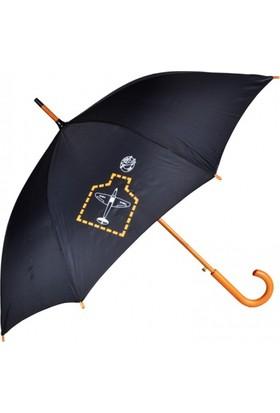 THK Design Siyah Ahşap Saplı Şemsiye