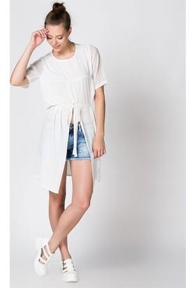 Bonalodi Dekolte Şifon Beyaz Uzun Kadın Bluz