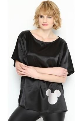 Bonalodi Siyah Sevimli Gümüş Desen Saten Kadın Bluz