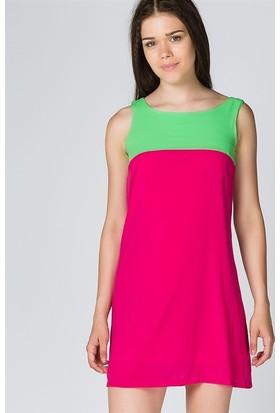 Bonalodi Fuşya Yeşil Kadın Elbise