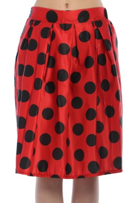 Bonalodi Kırmızı Siyah Puantiye Kadın Etek