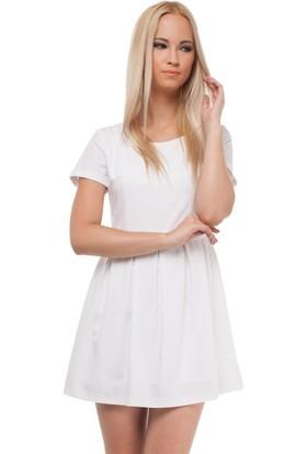 Bonalodi Sırt Kalp Desen Saten Astarlı Beyaz Kadın Elbise