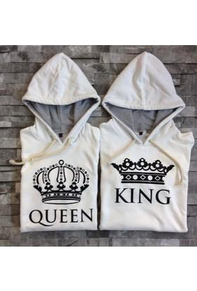 Bonalodi Beyaz King Queen Kapüşonlu Sevgili Çift Sweatshirt