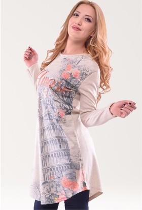 Modamla Kule Baskılı Triko Tunik