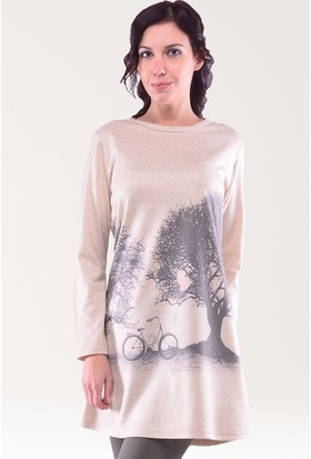 Modamla Nessia Ağaç Baskı Triko Tunik