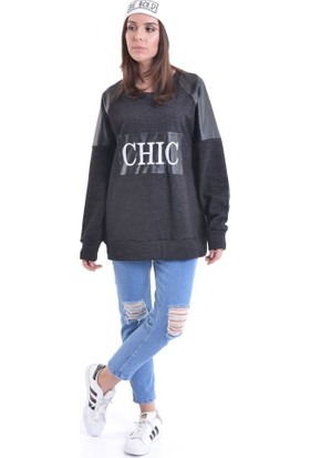 Bsl Fashion Siyah Sweatshirt 9075
