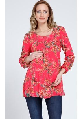 Gör&Sin Hamile Çiçek Desenli Şifon Bluz Fuşya