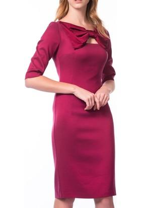 Roman Boynu Fiyonk Detaylı Fuşya Günlük Trend Elbisesi