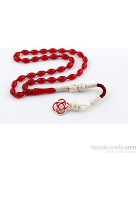Yeshills Kırmızı Ateş Kehribar Tesbih 1000 Ayar Gümüş Kazaz Püsküllü