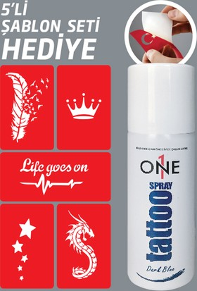 One Spray Tattoo Dark Blue Geçici Sprey Dövme Seti