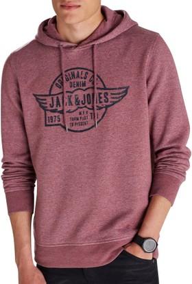Jack & Jones Paınt Sweat Hood Noos Erkek Sweatshirt 12097887-Burgundy