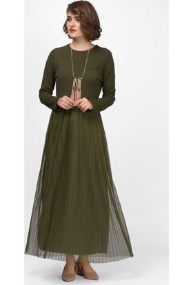 İroni Tül Pileli Haki Uzun Kollu Elbise