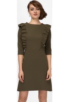 İroni Fırfırlı Haki Midi Elbise