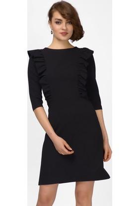 İroni Fırfırlı Siyah Midi Elbise